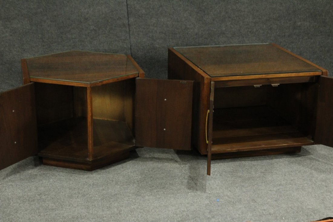 Mersman Mid-century modern end tables glass tops - 4