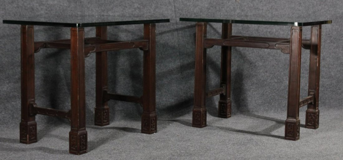 Pair ASIAN MODERN TEAK END STANDS WITH THICK GLASS TOPS