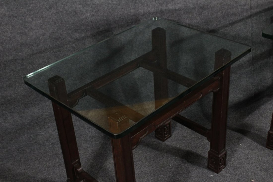 Pair ASIAN MODERN TEAK END STANDS WITH THICK GLASS TOPS - 4