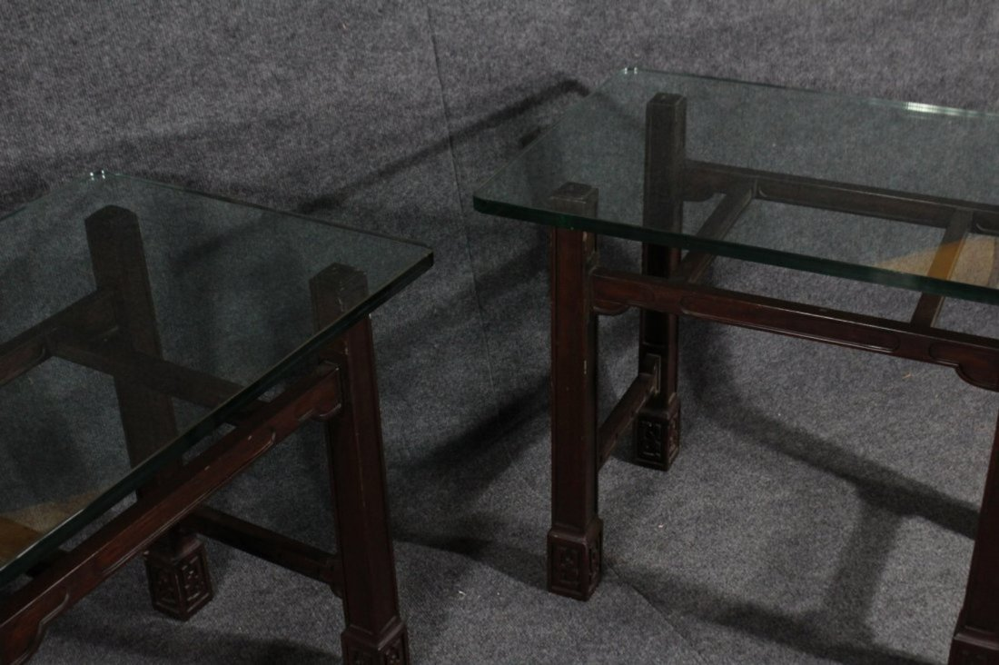 Pair ASIAN MODERN TEAK END STANDS WITH THICK GLASS TOPS - 5
