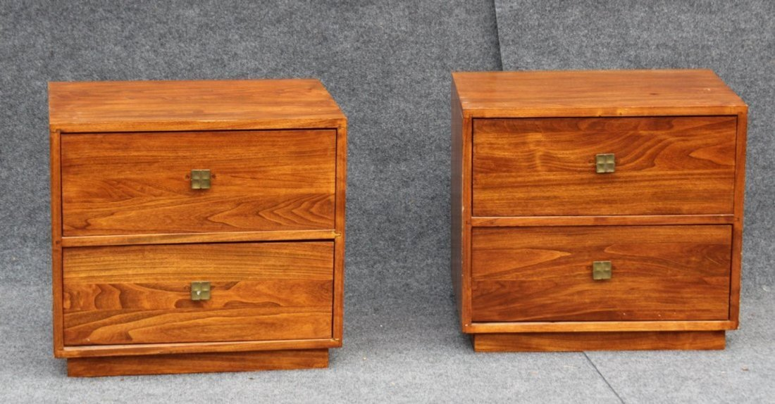 PAIR MID CENTURY MODERN BED STANDS - 2 DRAWERS - 2