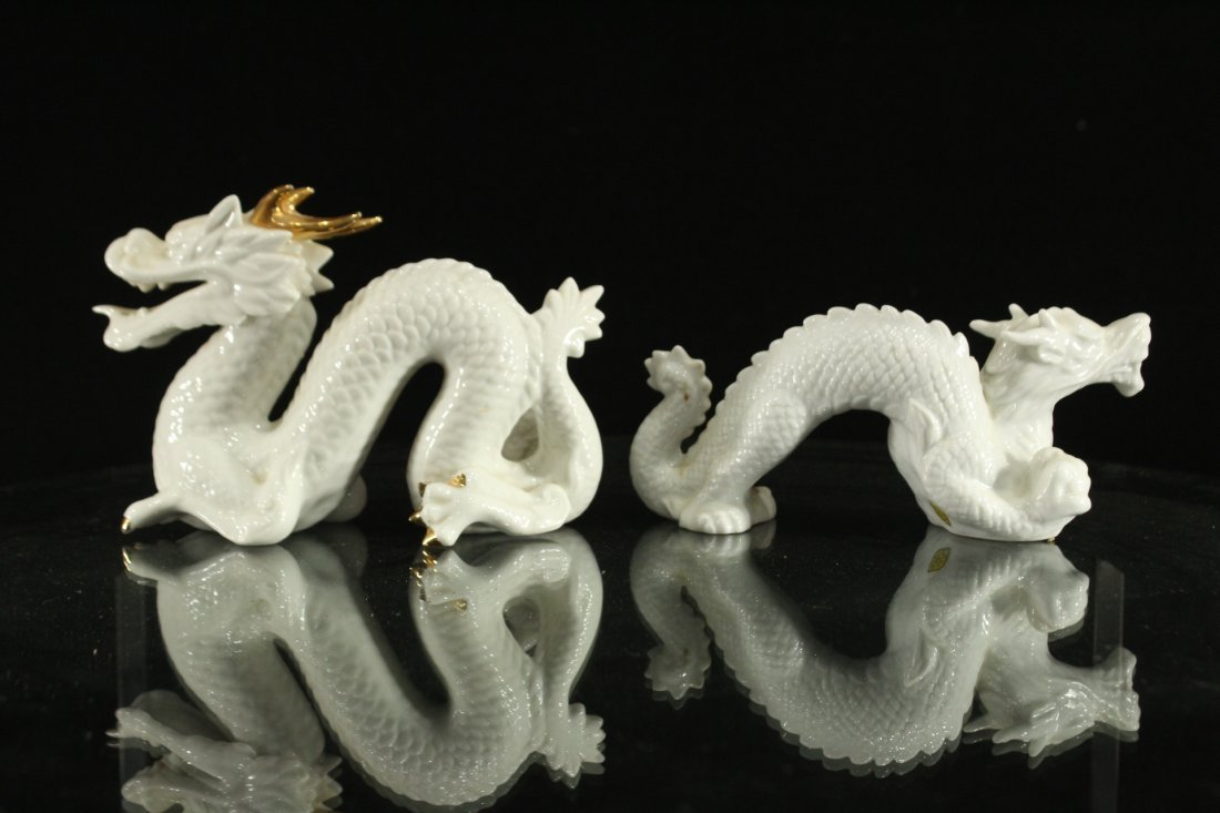 Pair WHITE PORCELAIN JAPANESE DRAGON FIGURES