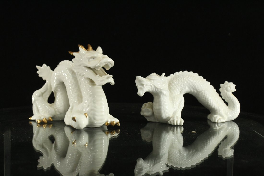 Pair WHITE PORCELAIN JAPANESE DRAGON FIGURES - 2