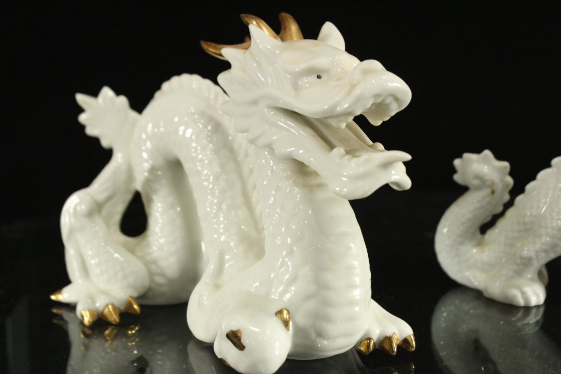 Pair WHITE PORCELAIN JAPANESE DRAGON FIGURES - 3