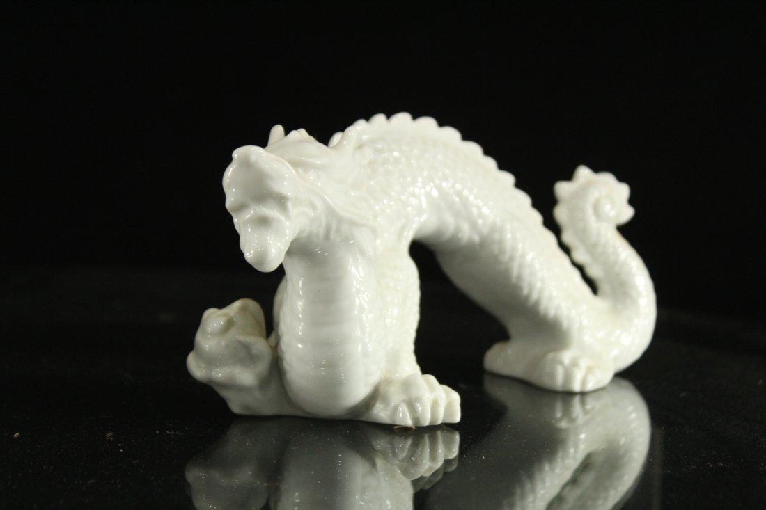 Pair WHITE PORCELAIN JAPANESE DRAGON FIGURES - 4
