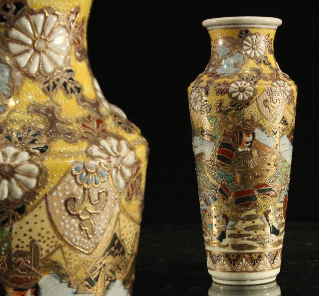 Antique JAPANESE SATSUMA VASE WITH SAMURAI WARRIOR