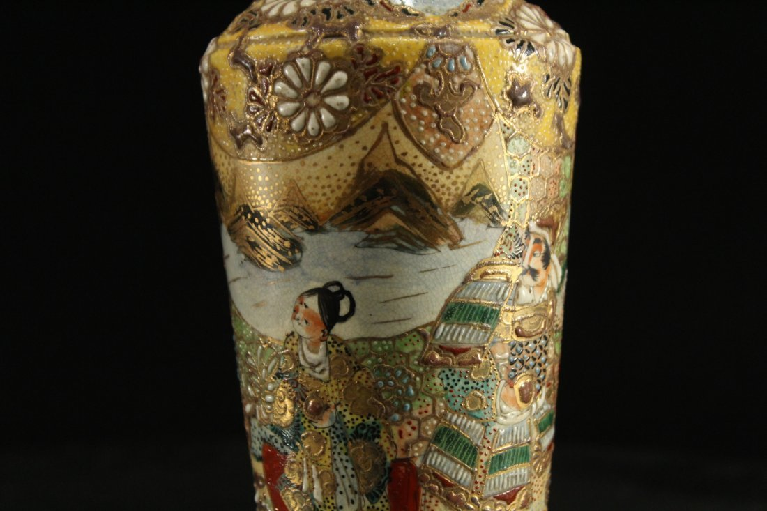 Antique JAPANESE SATSUMA VASE WITH SAMURAI WARRIOR - 6