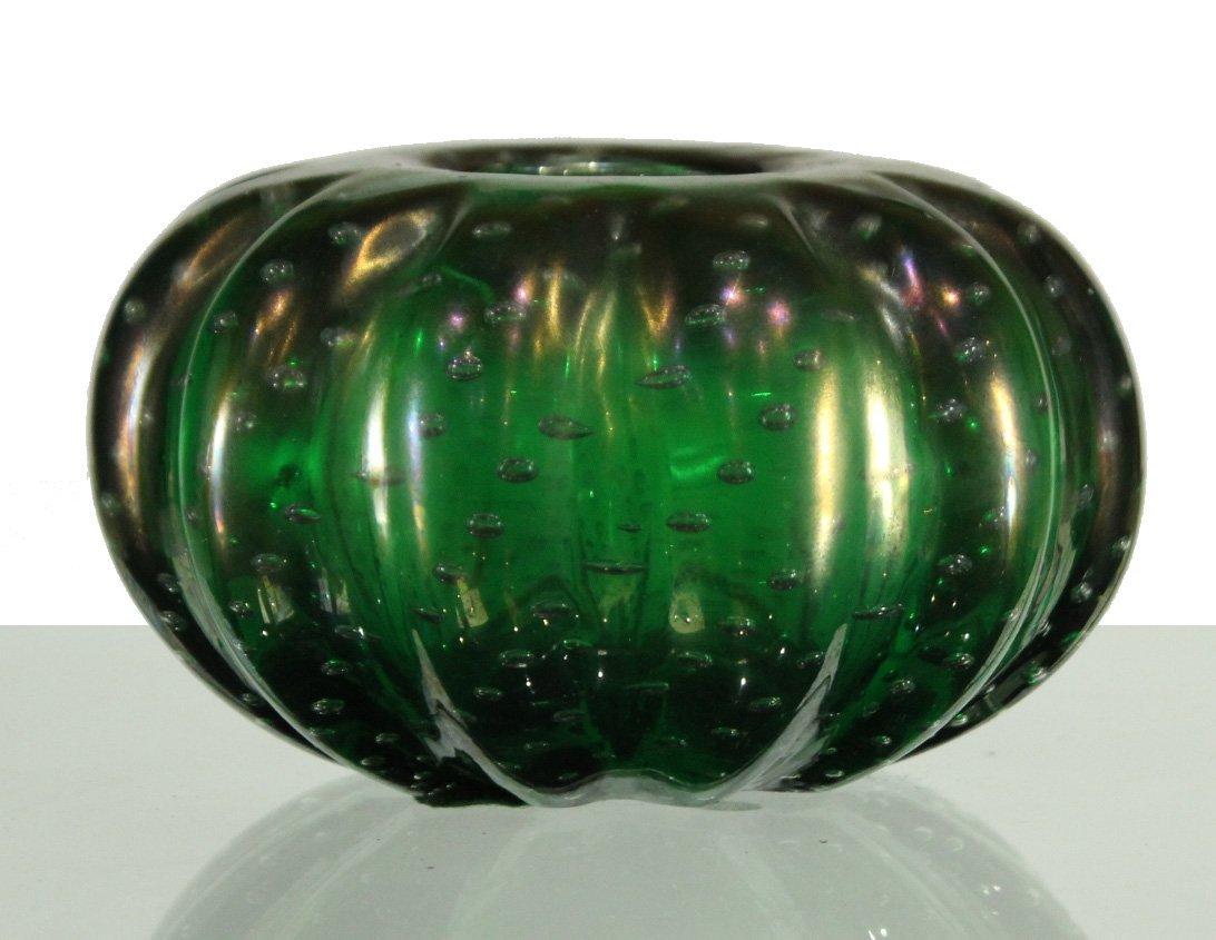 Vintage Superb GREEN ART GLASS CONTROLLED BUBBLES VASE