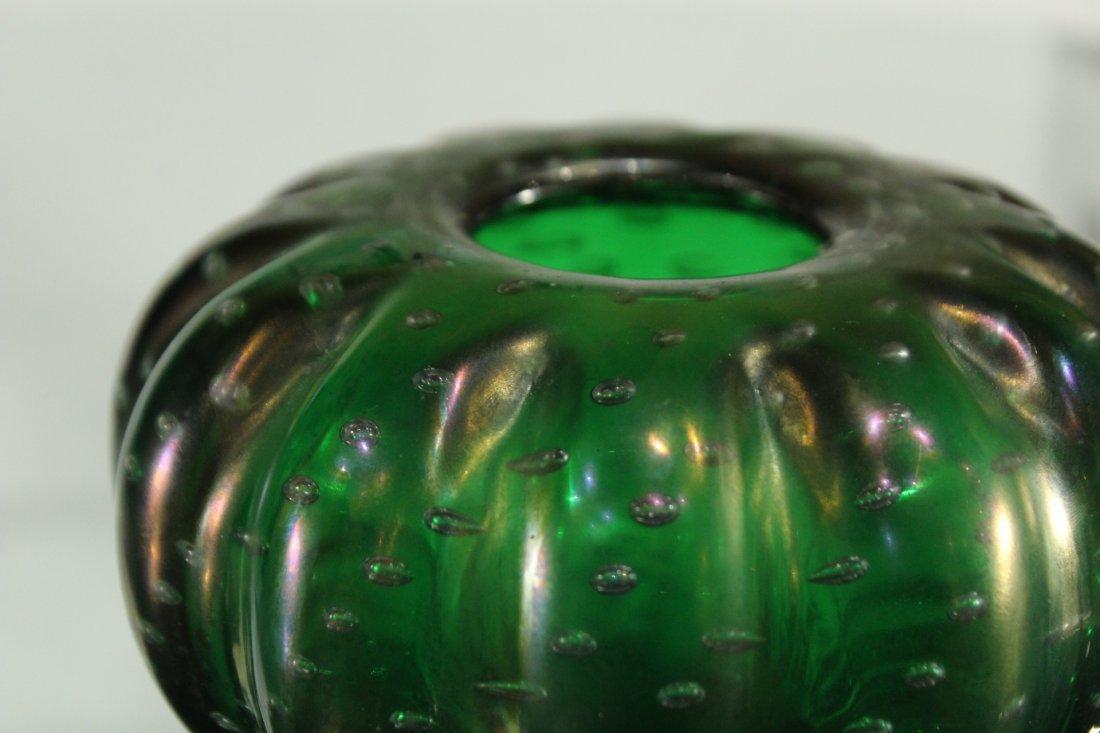 Vintage Superb GREEN ART GLASS CONTROLLED BUBBLES VASE - 2