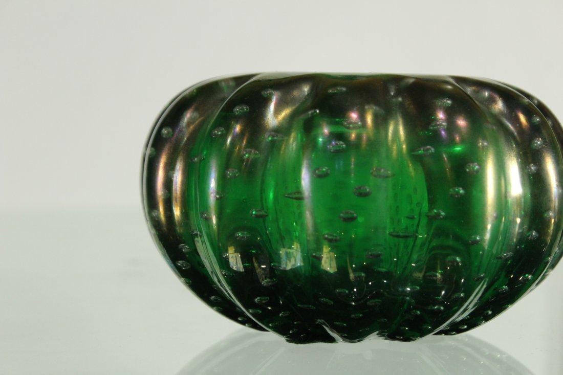 Vintage Superb GREEN ART GLASS CONTROLLED BUBBLES VASE - 3