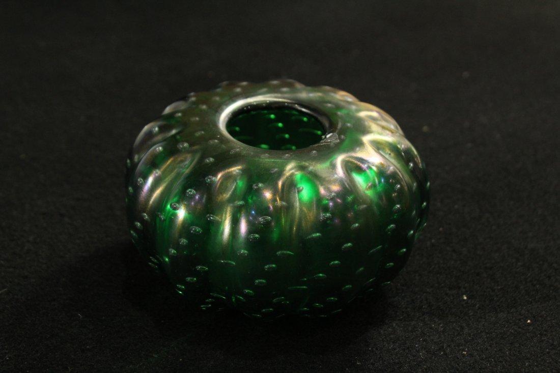 Vintage Superb GREEN ART GLASS CONTROLLED BUBBLES VASE - 5