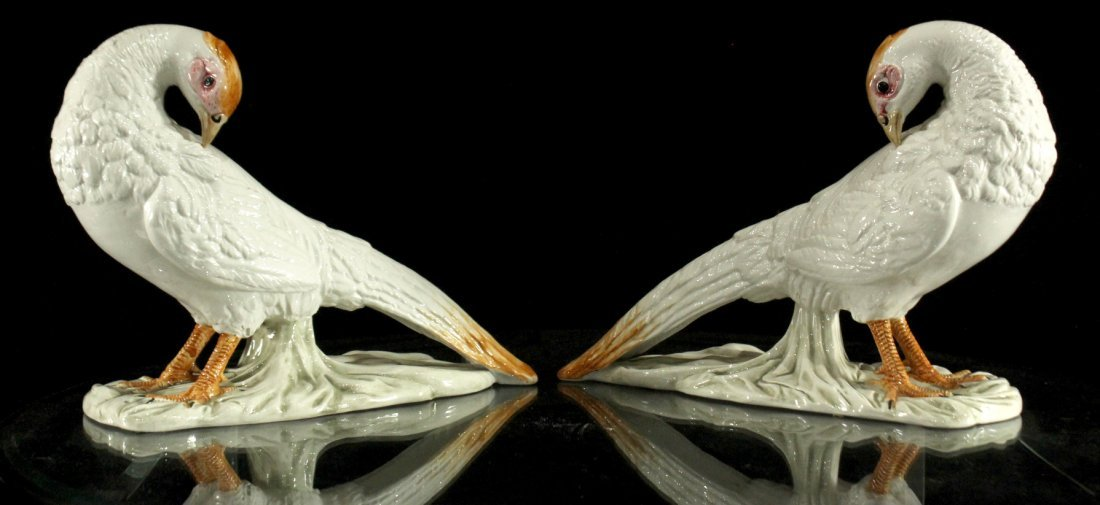 Pair FINE PORCELAIN BIRD FIGURES  12 inches length