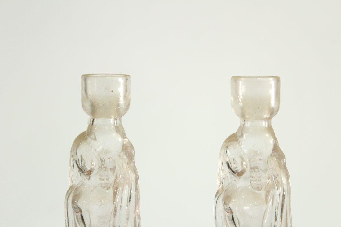 3 STANDING NUDE WOMEN EMBOSSED GLASS BOTTLES - 5