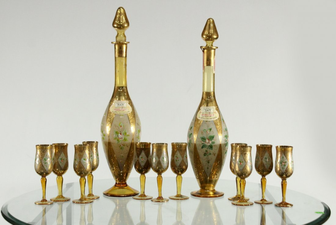 Exquisite 14-Piece 22K GOLD DECOR DOUBLE DECANTER SET