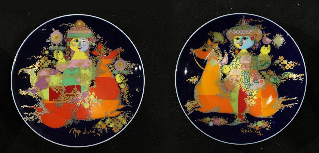 2 BJORN WIINBLOD Collectors Plates ROSENTHAL 1001 NACHT