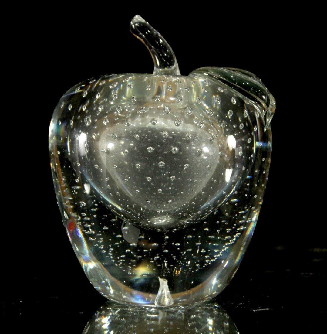 Exquisite GLASS APPLE SCULPTURE INTERNAL AND BUBBLES
