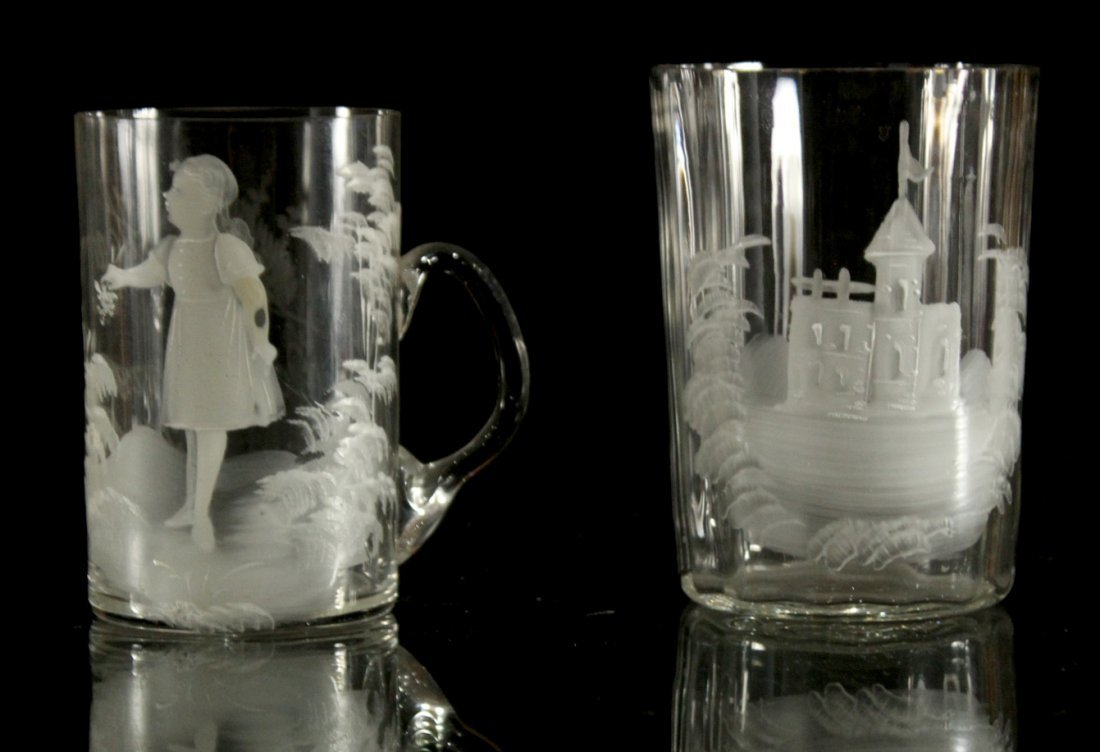2 UNIQUE MARY GREGORY DRINKING MUGS, GIRL, CASTLE
