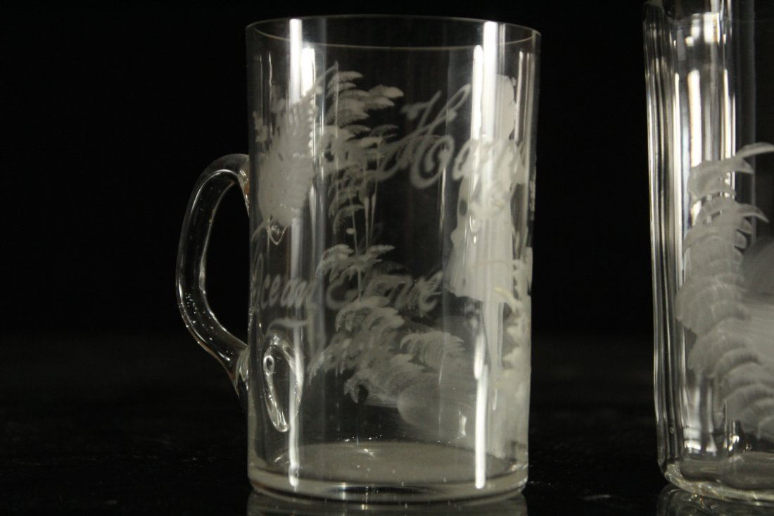 2 UNIQUE MARY GREGORY DRINKING MUGS, GIRL, CASTLE - 2