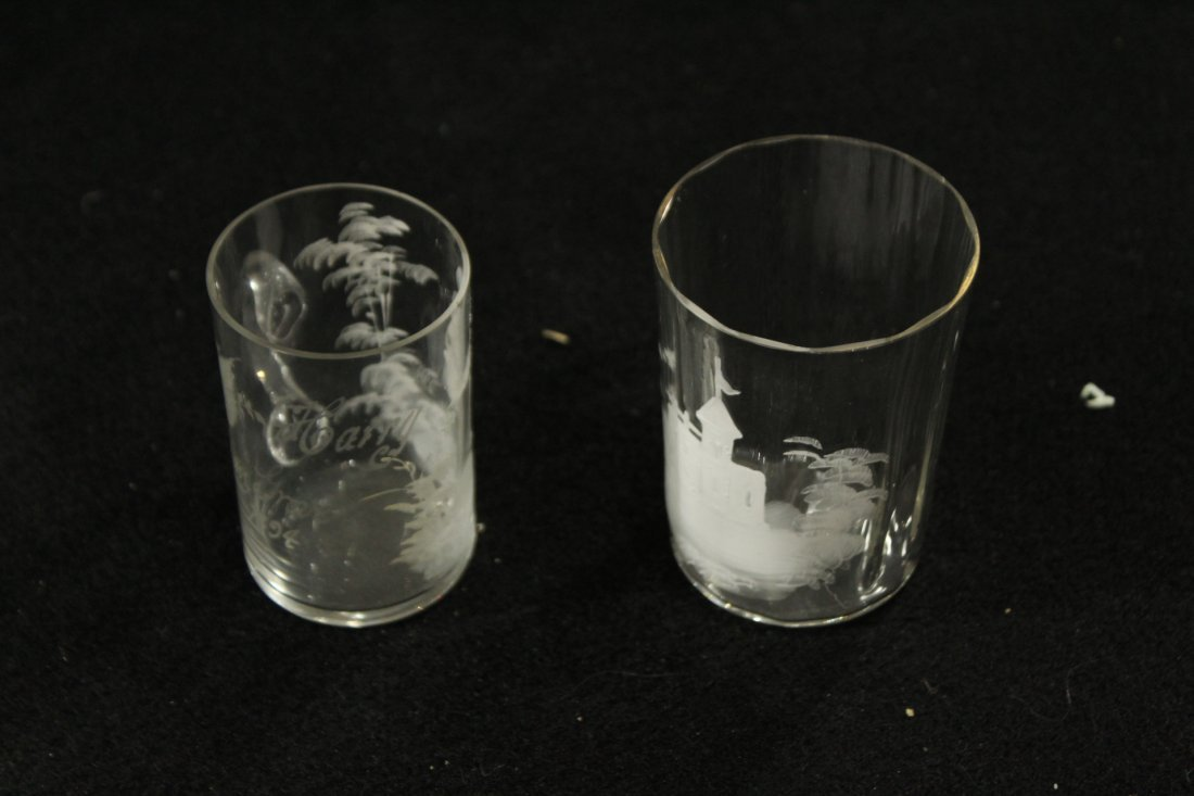 2 UNIQUE MARY GREGORY DRINKING MUGS, GIRL, CASTLE - 3