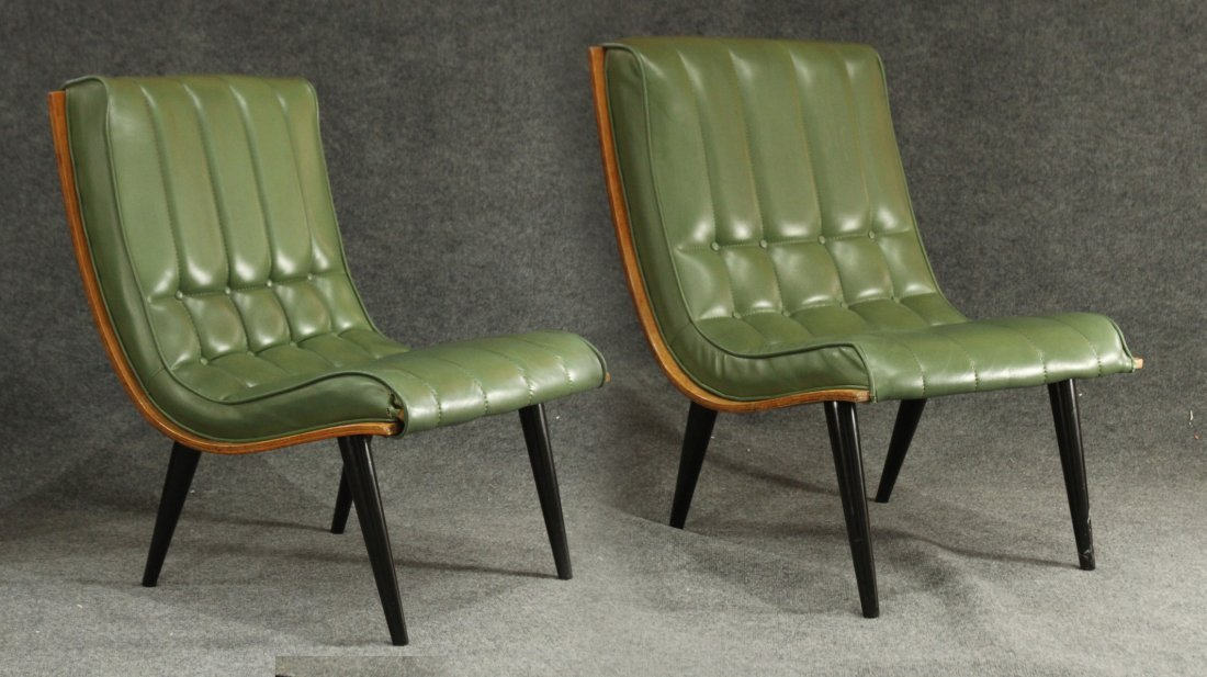 2 Carter Brothers Scoop Chairs Olive Green Mid Century