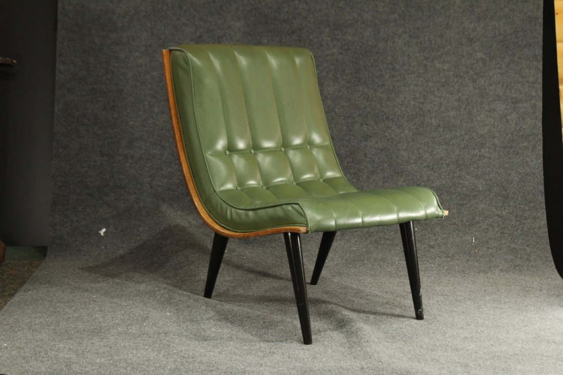 2 Carter Brothers Scoop Chairs Olive Green Mid Century - 2