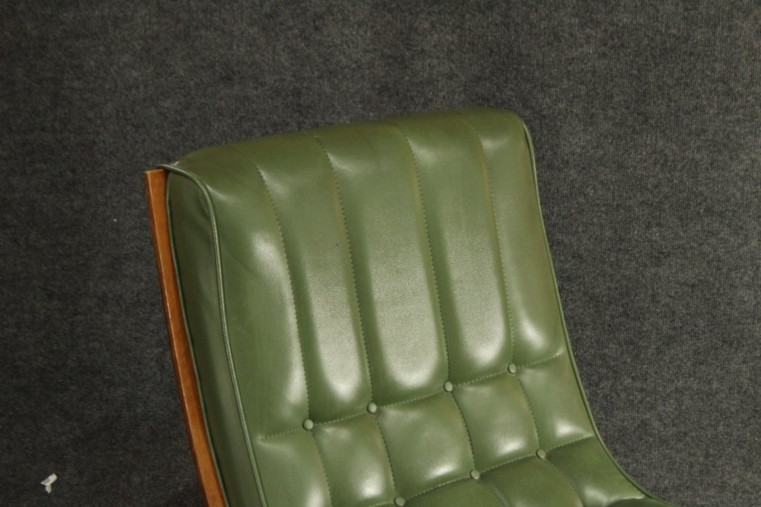 2 Carter Brothers Scoop Chairs Olive Green Mid Century - 3