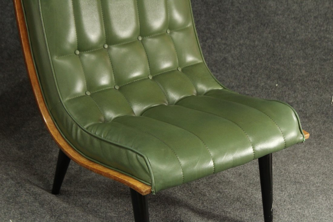 2 Carter Brothers Scoop Chairs Olive Green Mid Century - 4
