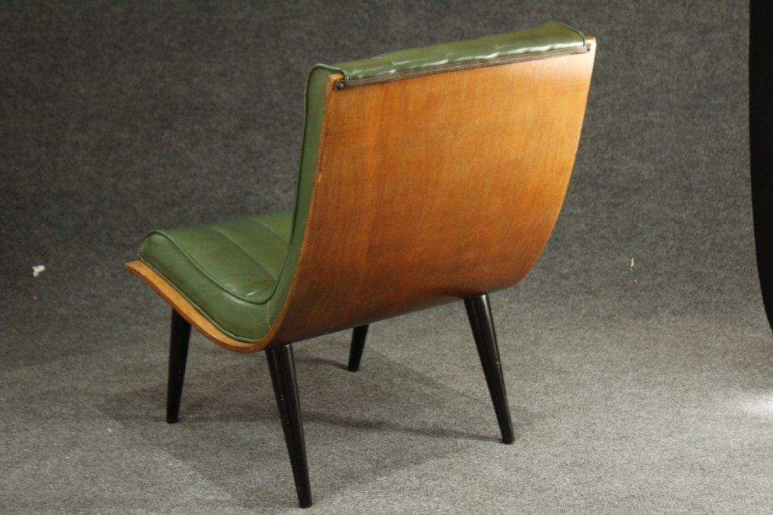 2 Carter Brothers Scoop Chairs Olive Green Mid Century - 7