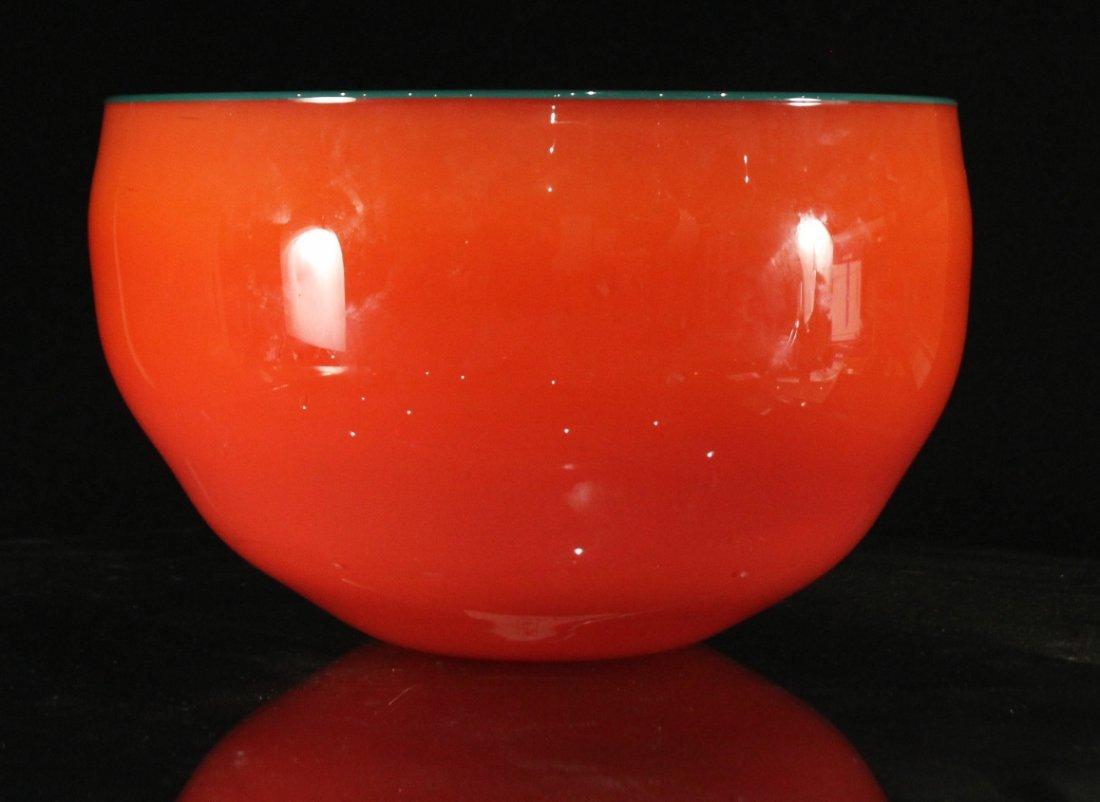 Peàn Doubulyu 1985 Orange Mod glass bowl