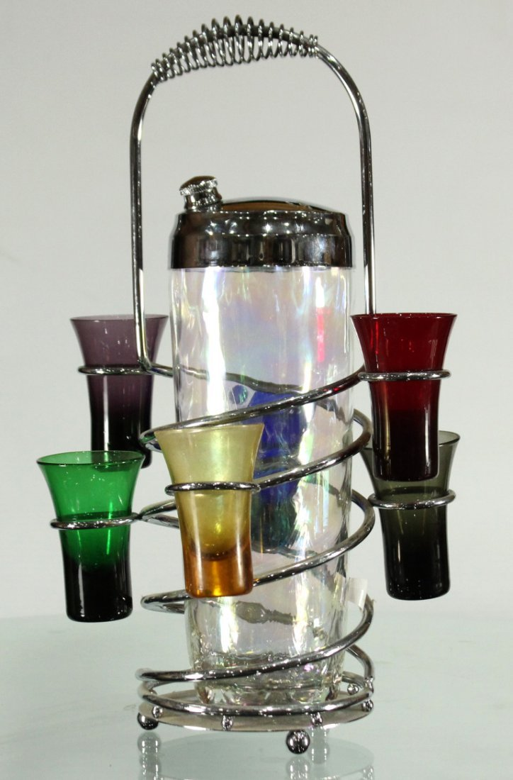 Mid-century modern chrome and stain glass set