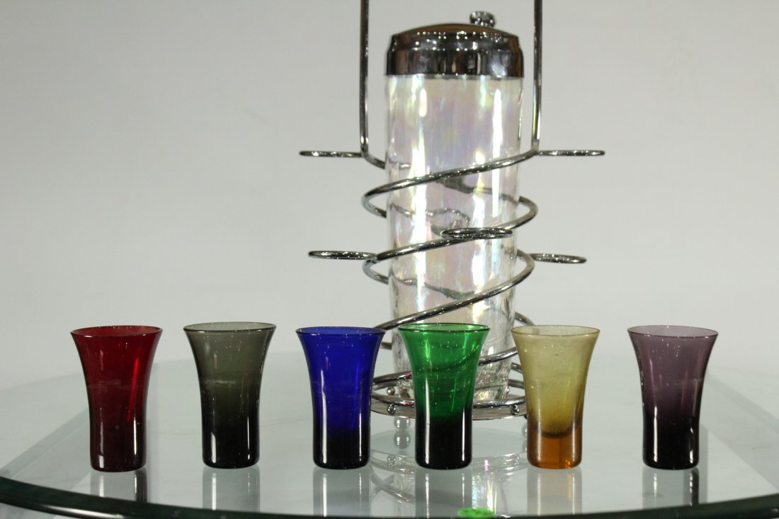 Mid-century modern chrome and stain glass set - 5