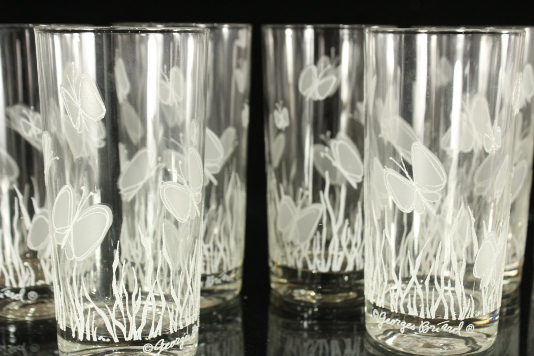 Georges Briard Butterfly glass drinking cups - 2