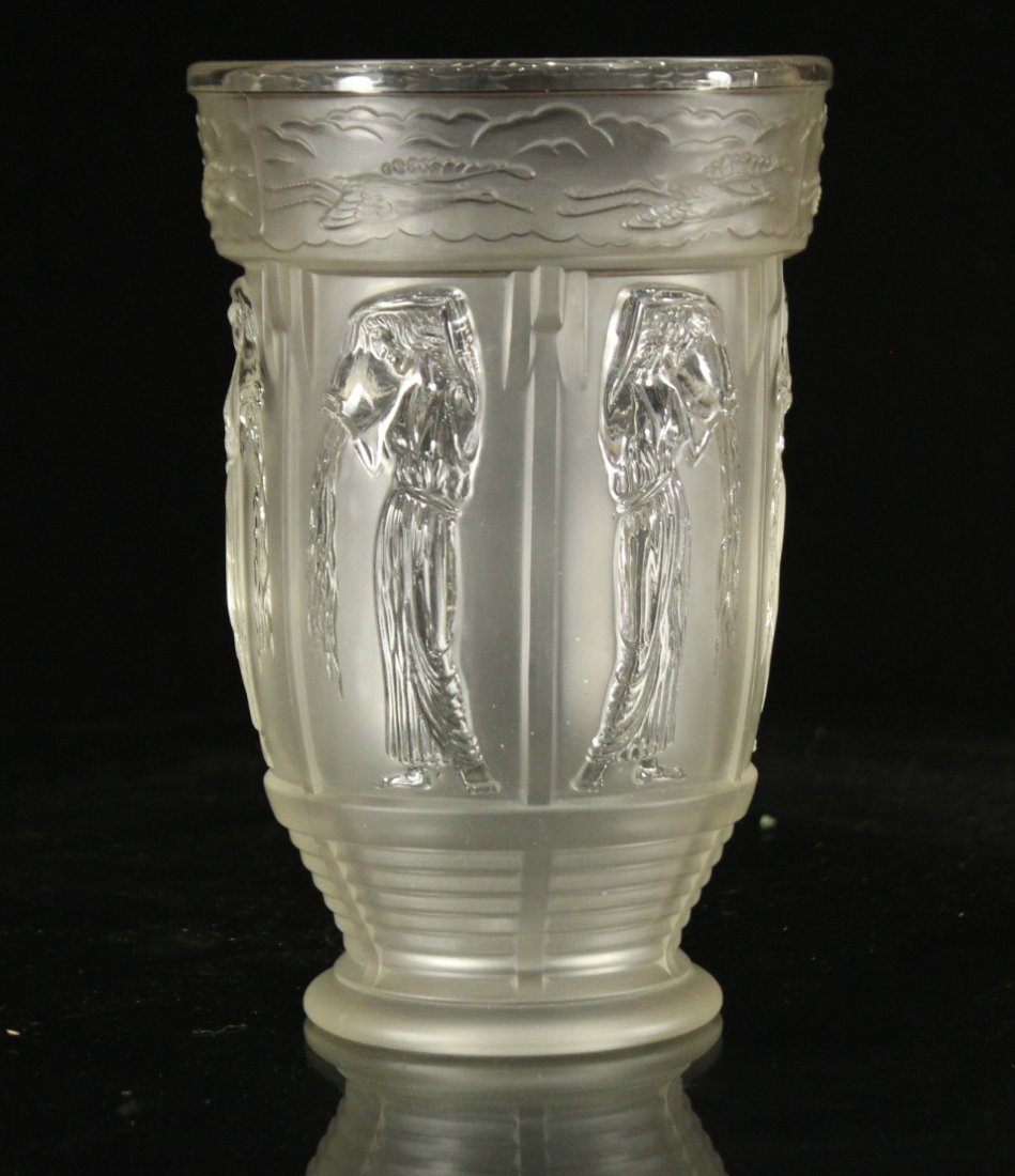 Vintage pressed glass pouring water Greek style
