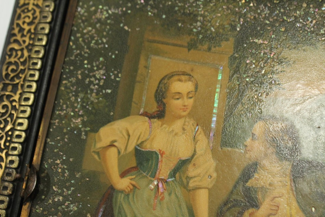 Vintage mother of pearl inlay shaving mirror - 3