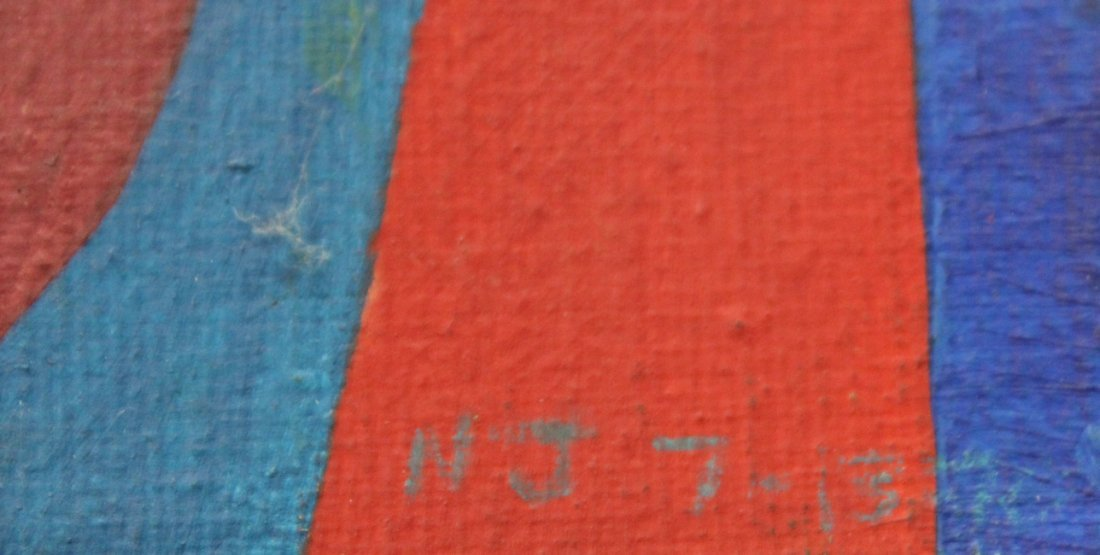 1913 Signed N J GRAPHIC Design typography number study - 2