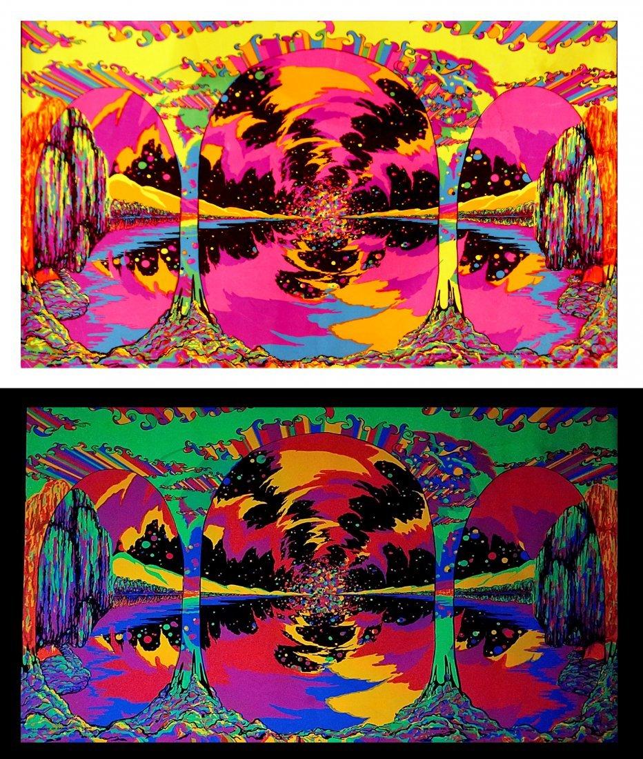 "1972 Black Light Original Poster ""PILLARS OF DAWN"""