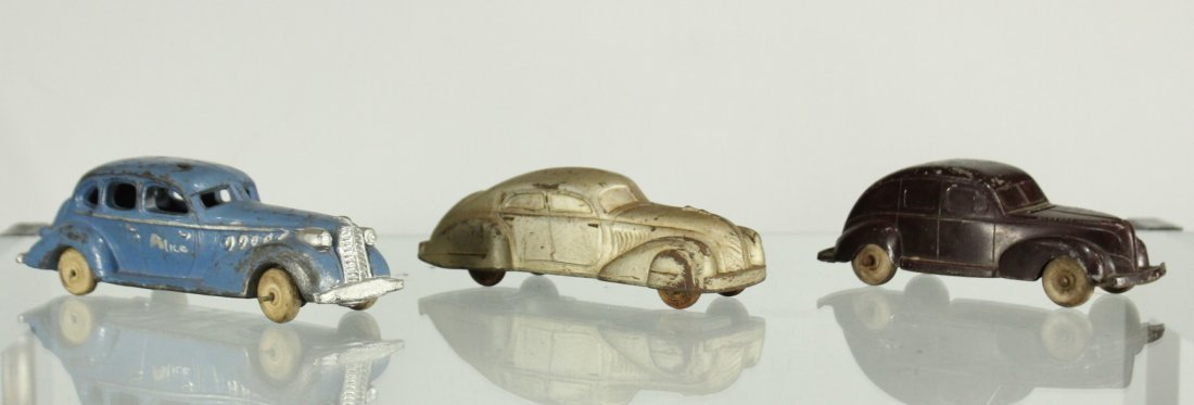 3 Assorted Antique Toy Cars, Cast, Tin, Rubber