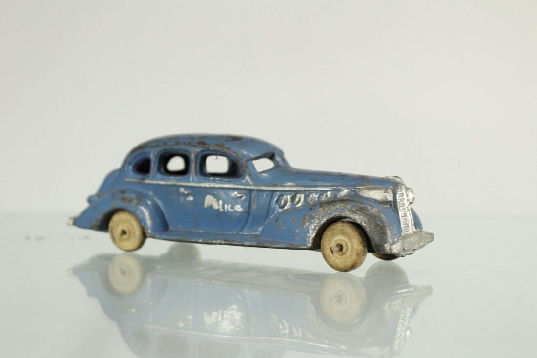 3 Assorted Antique Toy Cars, Cast, Tin, Rubber - 2