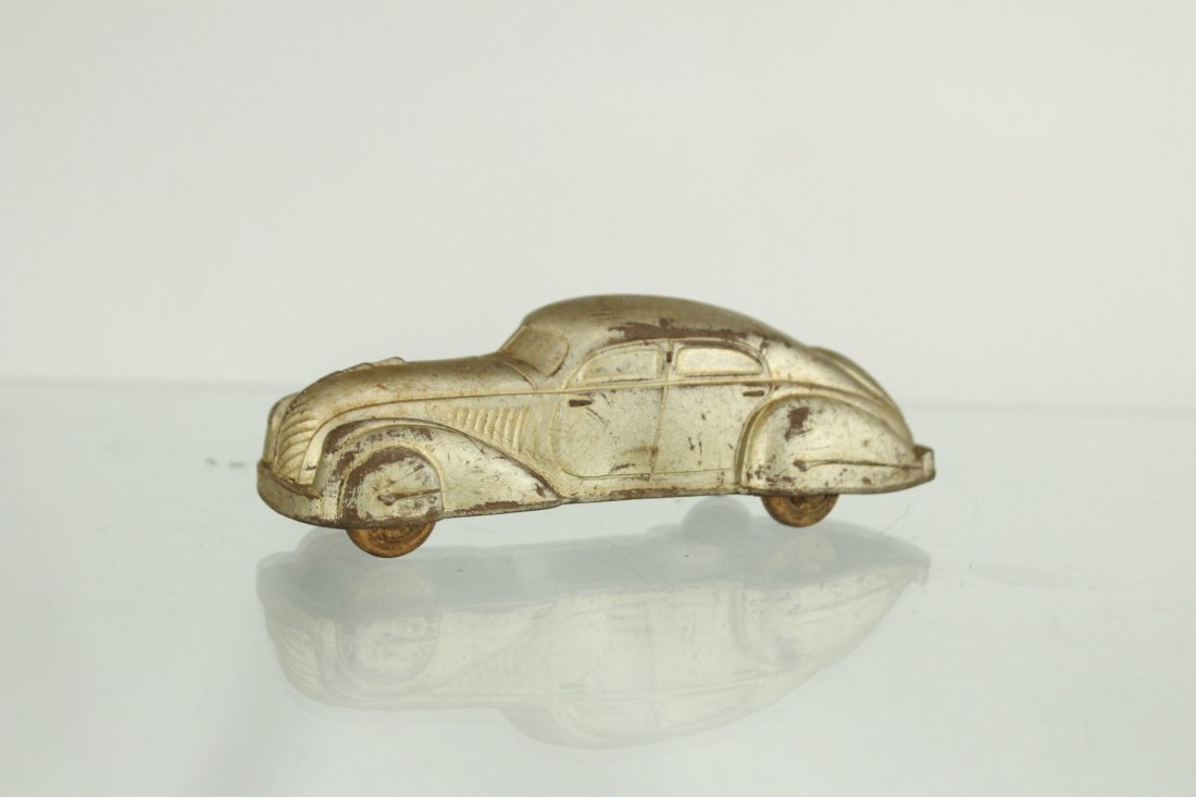3 Assorted Antique Toy Cars, Cast, Tin, Rubber - 7