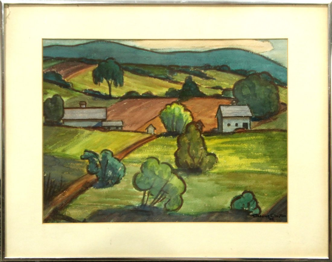 1942 Frederick Clayton watercolor painting Farm scene