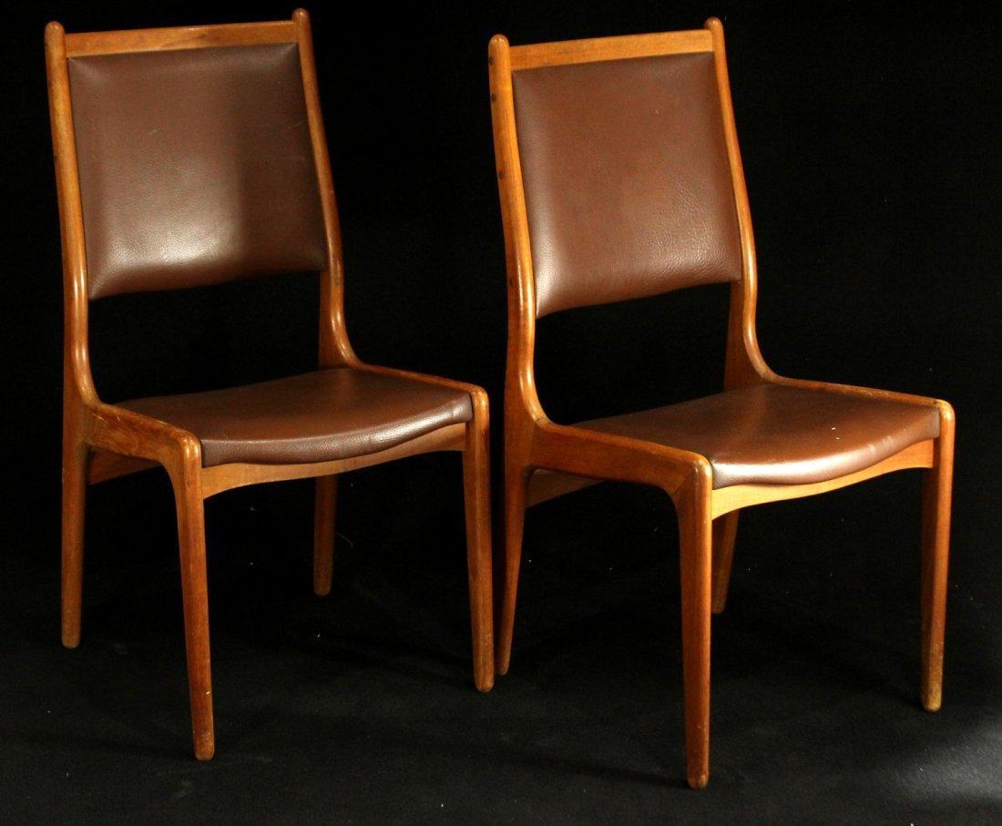 Mid-century modern teak side dinning chairs w/ leather