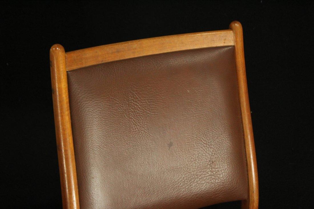 Mid-century modern teak side dinning chairs w/ leather - 2