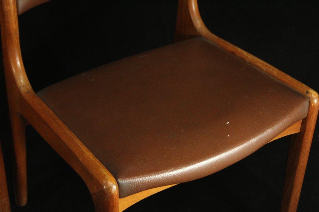 Mid-century modern teak side dinning chairs w/ leather - 3