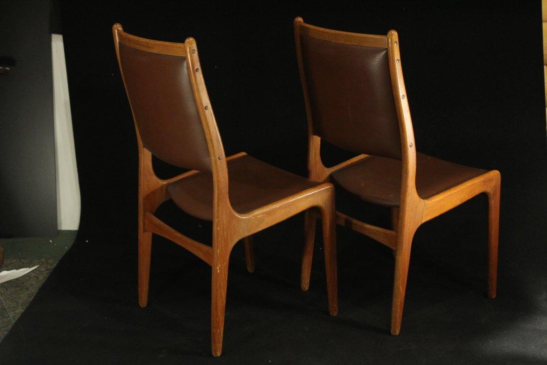 Mid-century modern teak side dinning chairs w/ leather - 4