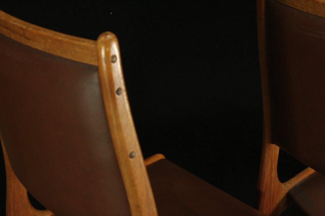 Mid-century modern teak side dinning chairs w/ leather - 5