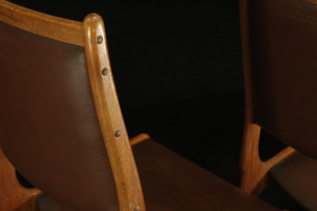 Mid-century modern teak side dinning chairs w/ leather - 6