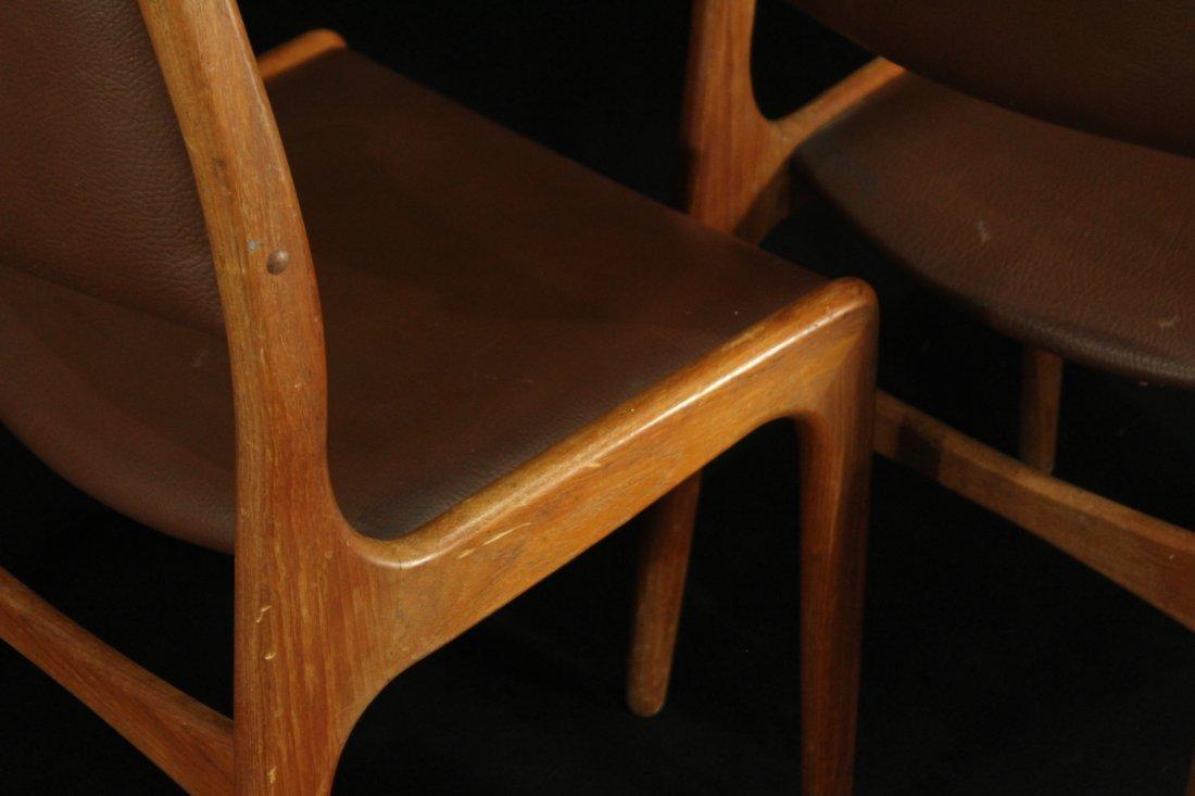 Mid-century modern teak side dinning chairs w/ leather - 7