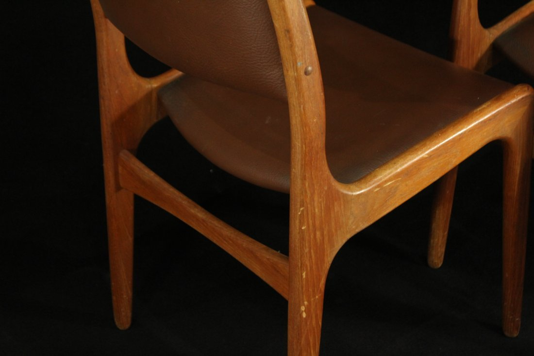 Mid-century modern teak side dinning chairs w/ leather - 8