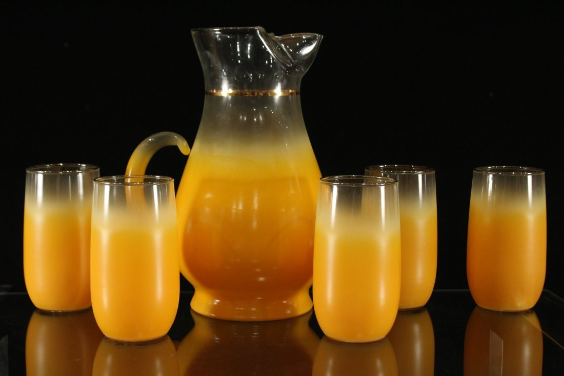 Mid-century modern orange fade lemonade set - 3