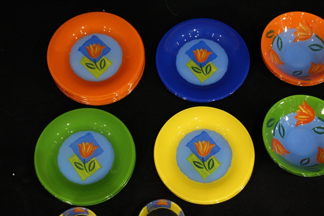 Mid-century modern France glass lunch set - 5